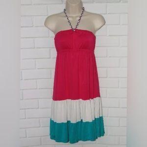 NWOT Cristina Love Sz S Pink Tiered Halter Dress